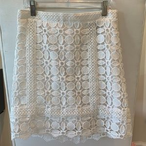 TOPSHOP White Guipure Lace A-Line Skirt